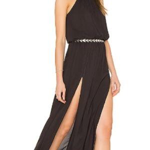 Blue Life Two Slit Black Maxi Halter Dress